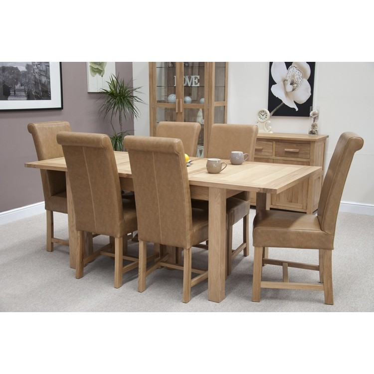 Opus Solid Oak Furniture Extending Dining Room Table & 6 Chairs